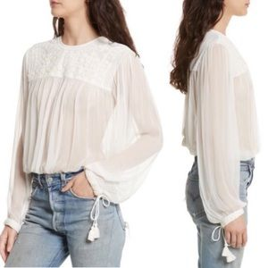 Free People Retro Sheer Embroidered Blouse Top Xs